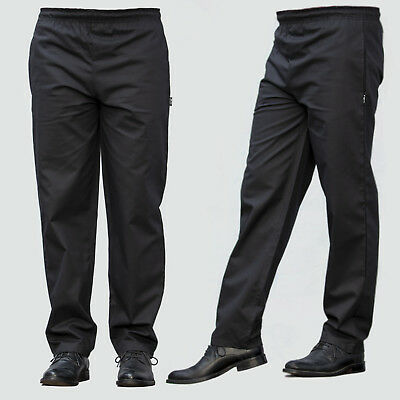£10.99 • Buy Black Chef Trousers Excellent Quality Elasticated Pants 3 Pockets Black Trousers