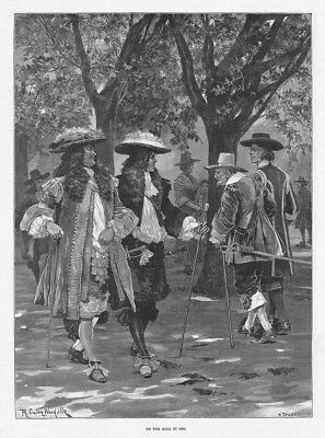 RICHARD CATON WOODVILLE On The Mall In 1660 - Antique Print 1892 • 12.95£