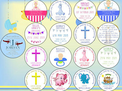 Sheet Of Personalised Christening Stickers Labels Thank You For Coming Baptism • 2.39£