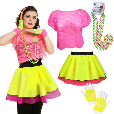 Ladies 80's TUTU DISCO Fancy Dress Costume NEON TUTU & Skirts UK ALL SIZES • 9.99£