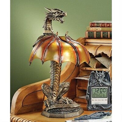 16  Gothic Spiny Winged Serpent Dragon Bronze Finish Table Lamp • 116.56£
