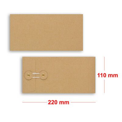 String & Washer DL - 22.0 X 11.0 Cm Bottom&Tie W/O Gusset MANILLA Envelopes • 26.35£