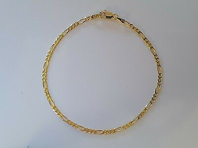 AU215 • Buy Genuine Solid 9ct 9k Yellow Gold Bevelled Figaro 3.1 Diamond Cut Ladies Bracelet