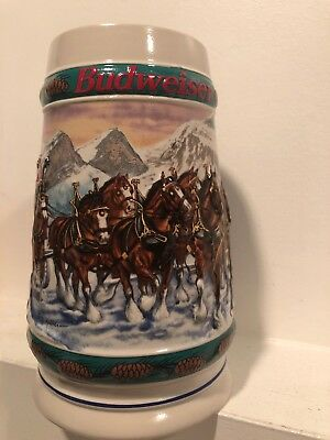 $ CDN15 • Buy Vtg Budweiser Holiday Stein 1993 Clydesdale Collector By Artist Nor Koerber