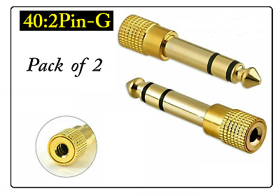 3.5mm Socket To 6.35mm Jack Plug Audio Converter Headphone Adapter GOLD PLATED • 2.99£