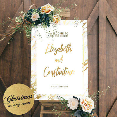 £39.99 • Buy Personalised Welcome To Our Wedding Poster Sign Marble Gold Silver Table Plan