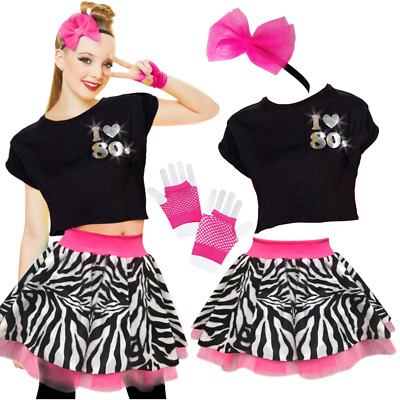 Womens 80's TOP SKIRT Fancy Dress Costume NEON ZEBRA Skirt & TOP UK ALL SIZES • 12.99£