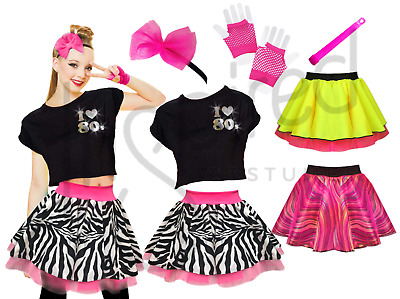 AU21.61 • Buy 80s Fancy Dress Costume Choose From Neon Tutu Skirt, Top, Gloves, Hair Bow