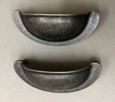 $14.95 • Buy Lot Of 2 Vintage Solid Brass 3  Cup Drawer Pull NOS