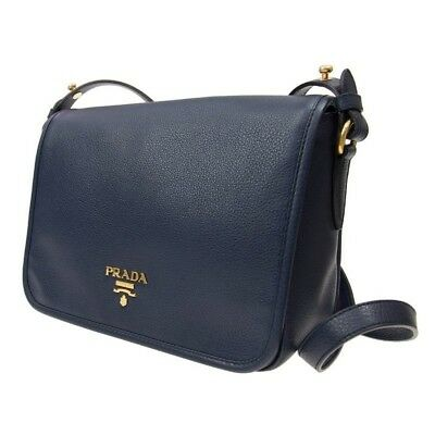 06a211423335 PRADA Women s Authentic NEW Navy Blue Pattina Leather Messenger Bag •  1