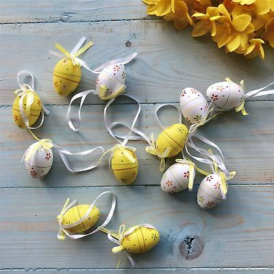 Set Of 12 Yellow & White Floral Mini Easter Egg Decorations By Gisela Graham • 5£