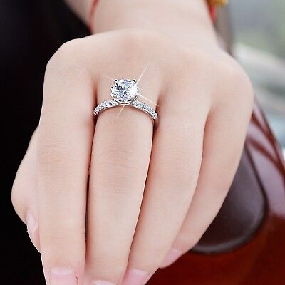 AU12.99 • Buy 18k White Gold Gp Engagement Wedding Ring Simulated Diamond Valentine's Day Gift