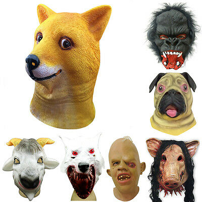 Latex Full Head Overhead Animal Cosplay Masquerade Fancy Dress Carnival Mask SA • 5.93£