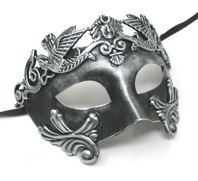 Mens Classic Silver Masquerade Greek Roman God Soldier Warrior Party Ball Mask  • 12.95£