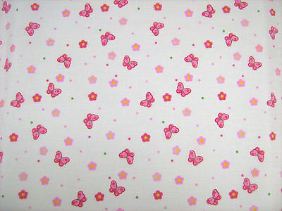 £3.40 • Buy Butterfly Pink Polycotton Fabric Quilting Patchwork Bunting Crafts Fabrics
