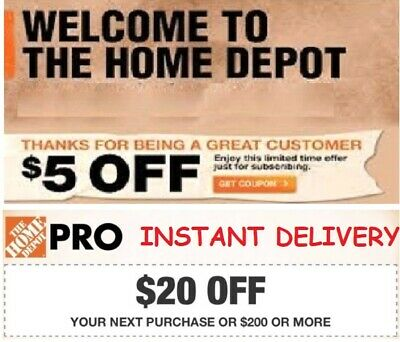 $1.98 • Buy Home Depot 1Coupon $20 OFF $200 + $5 OFF $50 Online Use ONLY *INSTANT DELIVERY*