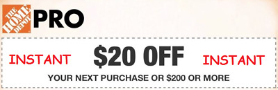 $1.24 • Buy Home Depot $20 OFF $200 1Coupon ONLINE USE ONLY **INSTANT DELIVERY* Exp 8/15