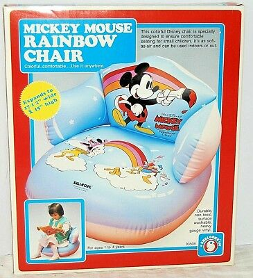 £43.42 • Buy 1985 Mickey Mouse Rainbow Chair Inflatable Toddler Seat Shellcore Toy BRAND NEW