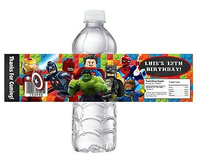$8.90 • Buy 10 Lego Superheroes Custom Birthday Party Favors Water Bottle Labels Wrappers