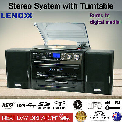 AU289.86 • Buy Stereo System Turntable Vinyl Record Player W/ Dual Cassette Recorder USB CD MP3