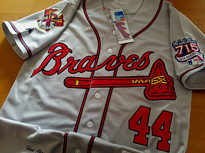 c1d2b86d8 Brand New Majestic Atlanta Braves  44 Hank Aaron Dual Patch SEWN Gray Jersey  MEN •