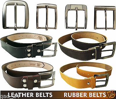 £3.75 • Buy Real Genuine Leather Belts / Rubber Belts Mens Boys Silver Big Small Buckle New