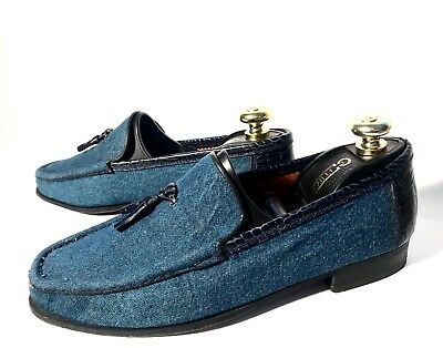 $ CDN395.85 • Buy Artioli  Blue Leather + Denim Shoes Size 42, UK-8, US-8