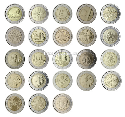 $ CDN197.60 • Buy #rm# All 2 Euro Commemorative From 2014 Unc - 23 Coins