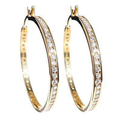 Ah! Jewellery® 40mm Genuine Gold Filled Hoops Crystals From Swarovski®Stamped GL • 49.99£