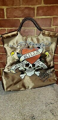 d0716354c6 Ed Hardy Love Kills Slowly Oversize Purse Copper And Gold Tote Hand Bag  2643. Ed Hardy Tote Pare S On Dealsan
