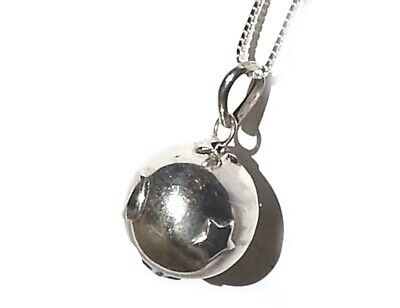 Sterling Silver Celestial Moon & Star Harmony Chime Ball 14.5mm Pendant Necklace • 36.99$