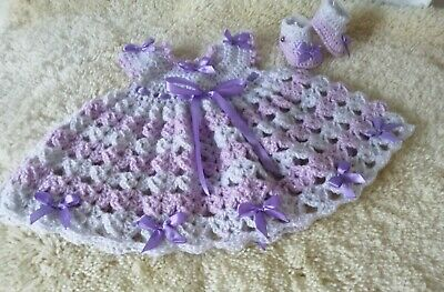 Baby Dress & Shoes Set / Outfit / Bundle. 0-3m Hand Made 🍼 👶 Fit Baby Annabell • 4.49£