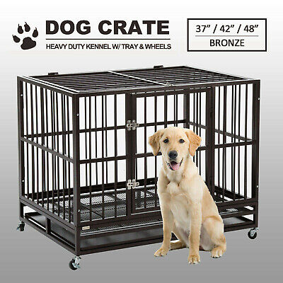 $192.99 • Buy 37 /42 /48   Dog Crate Large Kennel Pet Cage Heavy Duty W/Tray & Wheels Bronze