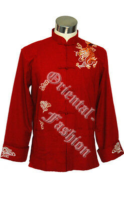 Chinese Mens Jacket Flying Dragon Embroiderie UK Stock Black Maroon  Size M L XL • 24.99£