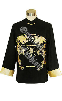 Chinese Men's Kung-Fu Jacket Two Dragons Gold Black Maroon Green Grey UK Stock • 34.99£