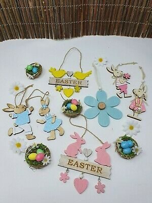 Wooden Hanging Easter Tree Decoration Laser Cut Egg Rabbits Bunny Cute Craft • 2.89£