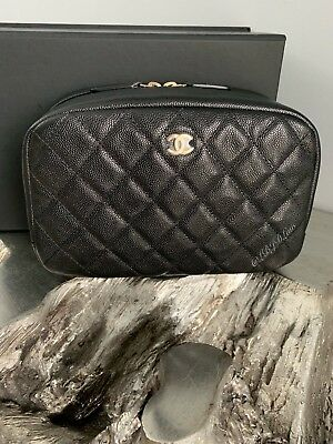 d122e09d38b8 NWT CHANEL Black Caviar Beauty CC O-Case DEEP Pouch 2018 XL Coco Voyage NEW