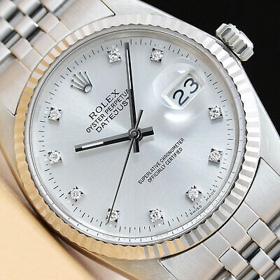 $ CDN6665.66 • Buy Mens Rolex Datejust 16014 Factory Silver Diamond Dial 18k White Gold Steel Watch
