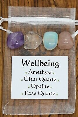 Wellbeing Crystal Gift Set Rose Clear Quartz Opalite Amethyst Happiness Health • 5.95£