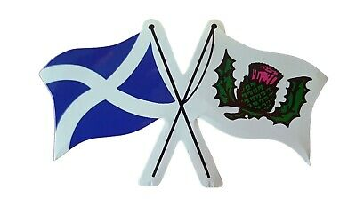 Scottish Emblem Car Sticker Crossed Flags Scotland St Andrews Thistle By Castle • 2.79£