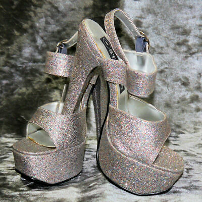 Lap Dancing Shoes Pewter  Silver Glitter Platform Size 4 & 3 • 9.99£