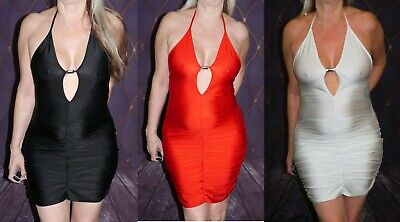Lap Dance Rouched Mini Dress In Red, White And Black Size 10-12 • 9£