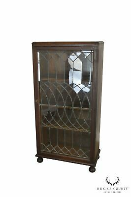 $1695 • Buy Antique Oak Arts & Crafts Style Leaded Glass Door Bookcase