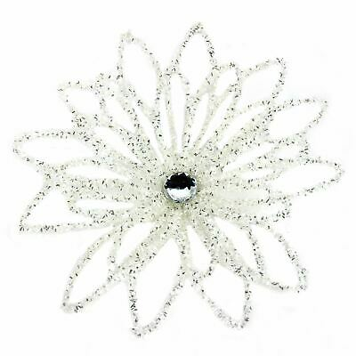 Iridescent White Flower Clip On Christmas Tree Topper • 4£