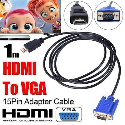 1m HDMI Male To 15 Pin VGA D-Sub Male Video Converter Adapter Cable New • 10.49£