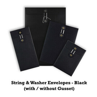 Strong Quality Black String&Washer Envelopes Bottom&Tie Craft Mailer Free P&P • 18.51£