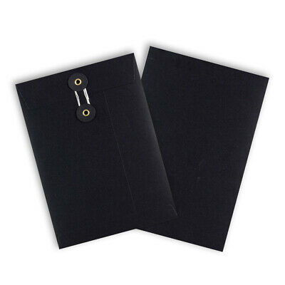 Quality String & Washer Strong Bottom&Tie Without Gusset Envelopes Black - C5 • 134.92£