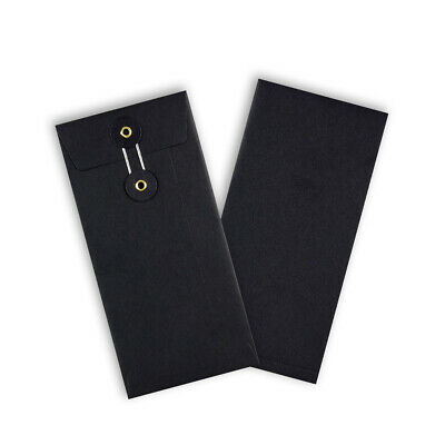 Quality String & Washer Strong Bottom&Tie Without Gusset Envelopes Black - DL • 29.87£