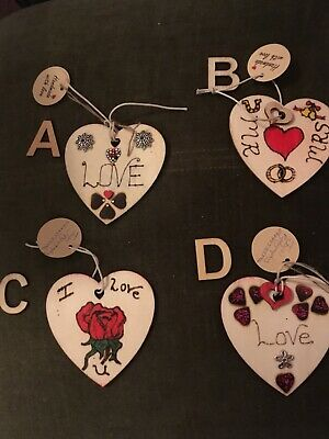 Love Hearts, Small, Decoraed Hanging Signs For Valentines, Birthdays, Weddings  • 2.50£