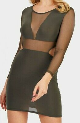 £6 • Buy Dress,khaki Mesh Cut Out Body Con Dress.size 8 New With Tags.free P&p